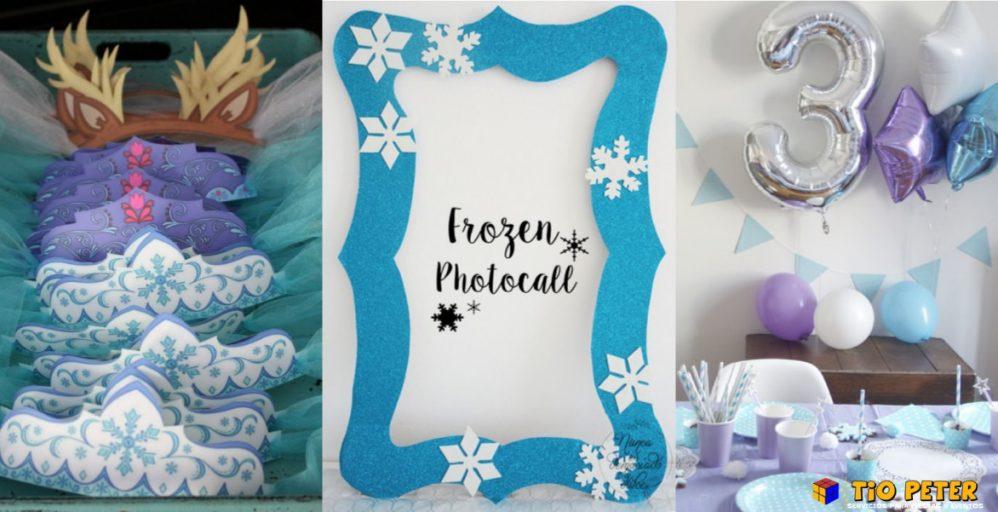 decoración para una fiesta de cumpleaños de Frozen.