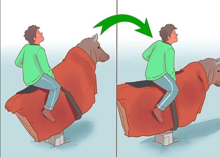 Como aguantar sobre un toro mecánico para fiestas
